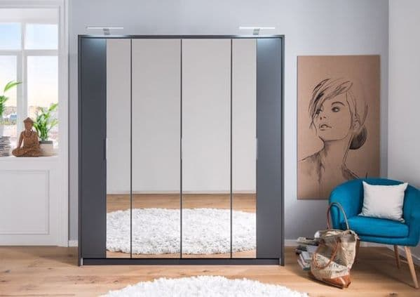 Rico Bi-Fold and Mirrored 4 Door Wardrobe Dark Grey 2955